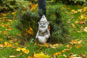 Photo of gnome in a garden.