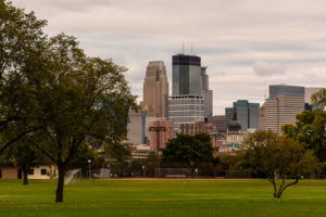 Photo of Minneapolis skyline taken from Bryn Mawr Meadows park.
