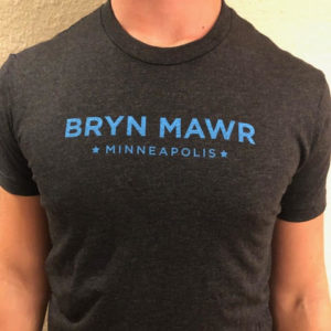 Black t-shirt with blue lettering