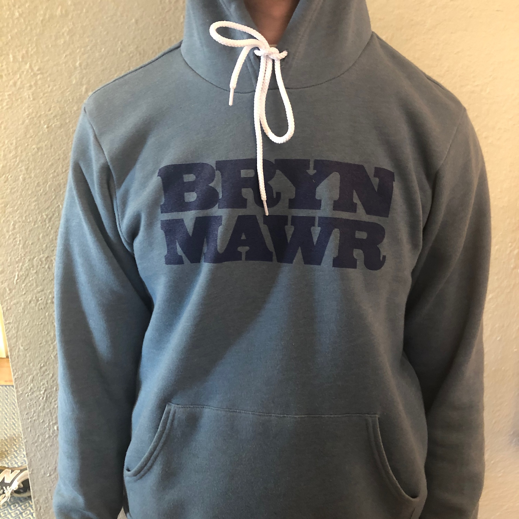 heather slate hoodie with blue letters